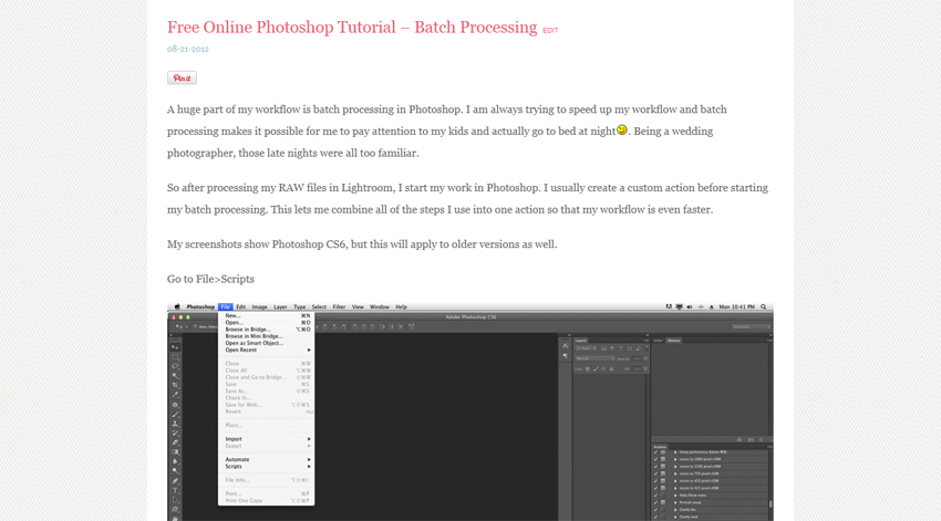 Batch Processing Tutorial- Free Photoshop Tutorial/ Online